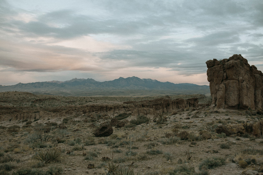 Desert canyon landscape Along route 66 Highway in Kingman Arizona.