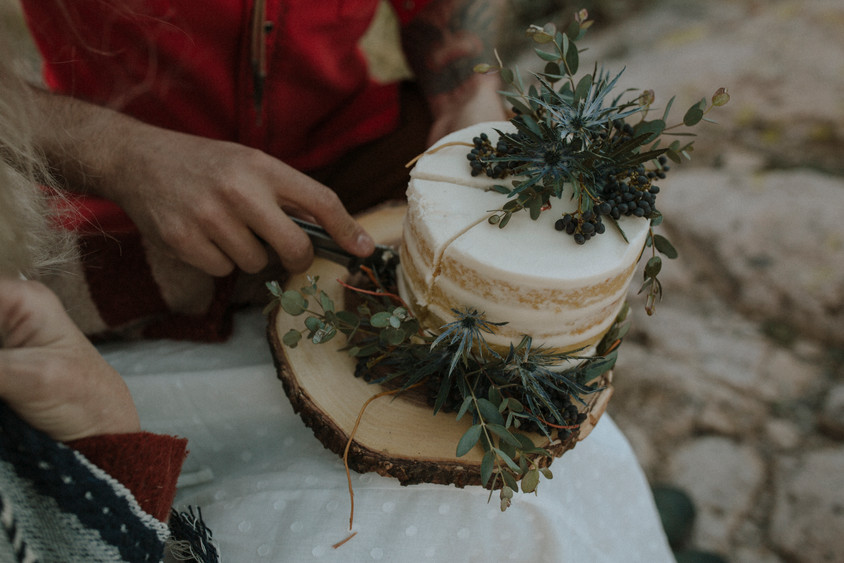 Botanical cakes are necessary to top off an earthy elopement.