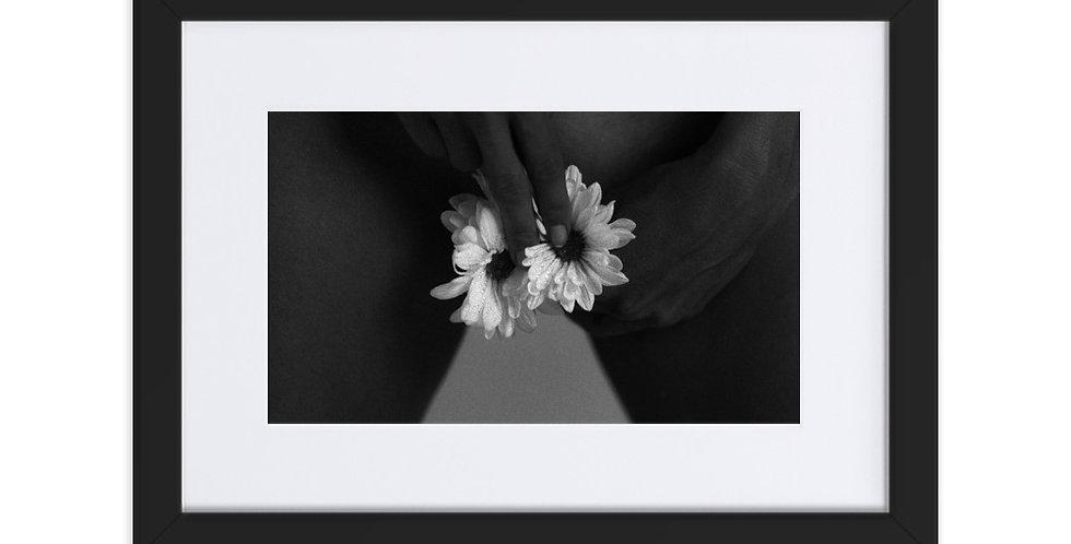 Crzypnda - Flower Touch - Matte Paper Framed Poster With Mat