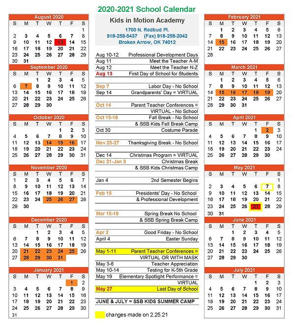 KIM Instructional Calendar 2020.2021 REV