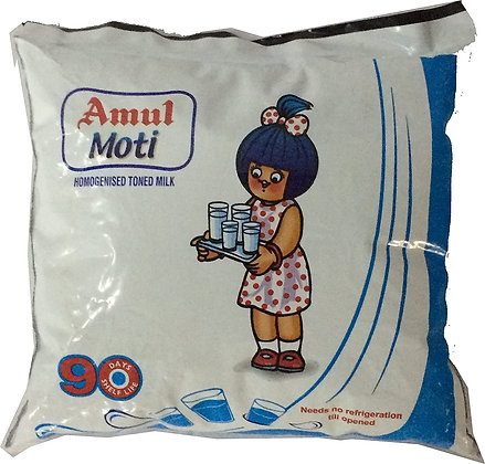 Amul Moti Homogenised Toned Milk, 450 ML Pouch