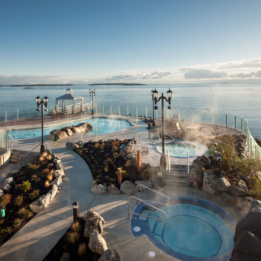 The Boathouse Spa at the Oak Bay Beach Hotel has the best hot tup view in town of Mount Baker over the San Juan Islands.