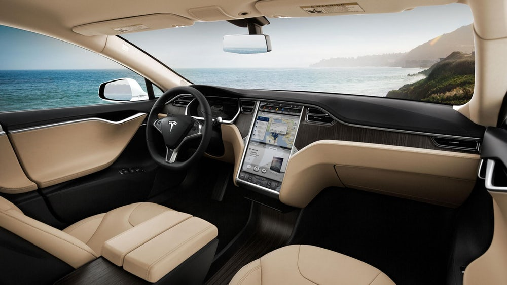 Tesla Model S interior sea scape