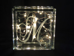 Glass block with fairy lights