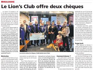 Handi Chiens et Ailes du Rire ont reçu un chèque le 12 octobre au Mac Do de Mulsanne