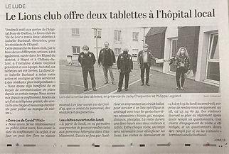 2020 tablettes offertes à l'Hôpital du Lude