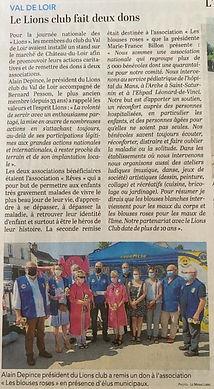 Chateau du Loir le 12 juin 2021 remise de chèque Les Blouses Roses