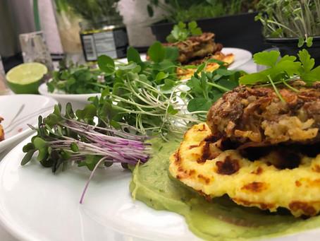 Pam's Mushcakes w/ Microgreens by Pam Brown of Sunshine Green's Farm