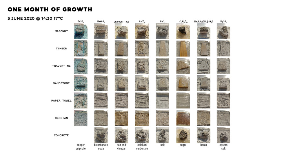 Crystal growth on traditional construction materials after one month. Mothilal, H. Unit 17. 2020.