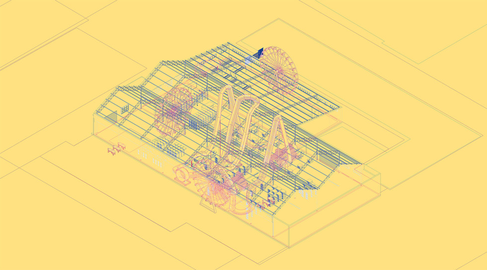The Play-Factory – Concept drawing This drawing conceptualises the environment of production using the Ferris wheel and Rollercoaster as the main organising ideas for leisure. This is done in order to create a symbiotic productive and leisure environment. Chanje, J. Unit 14. 2020.