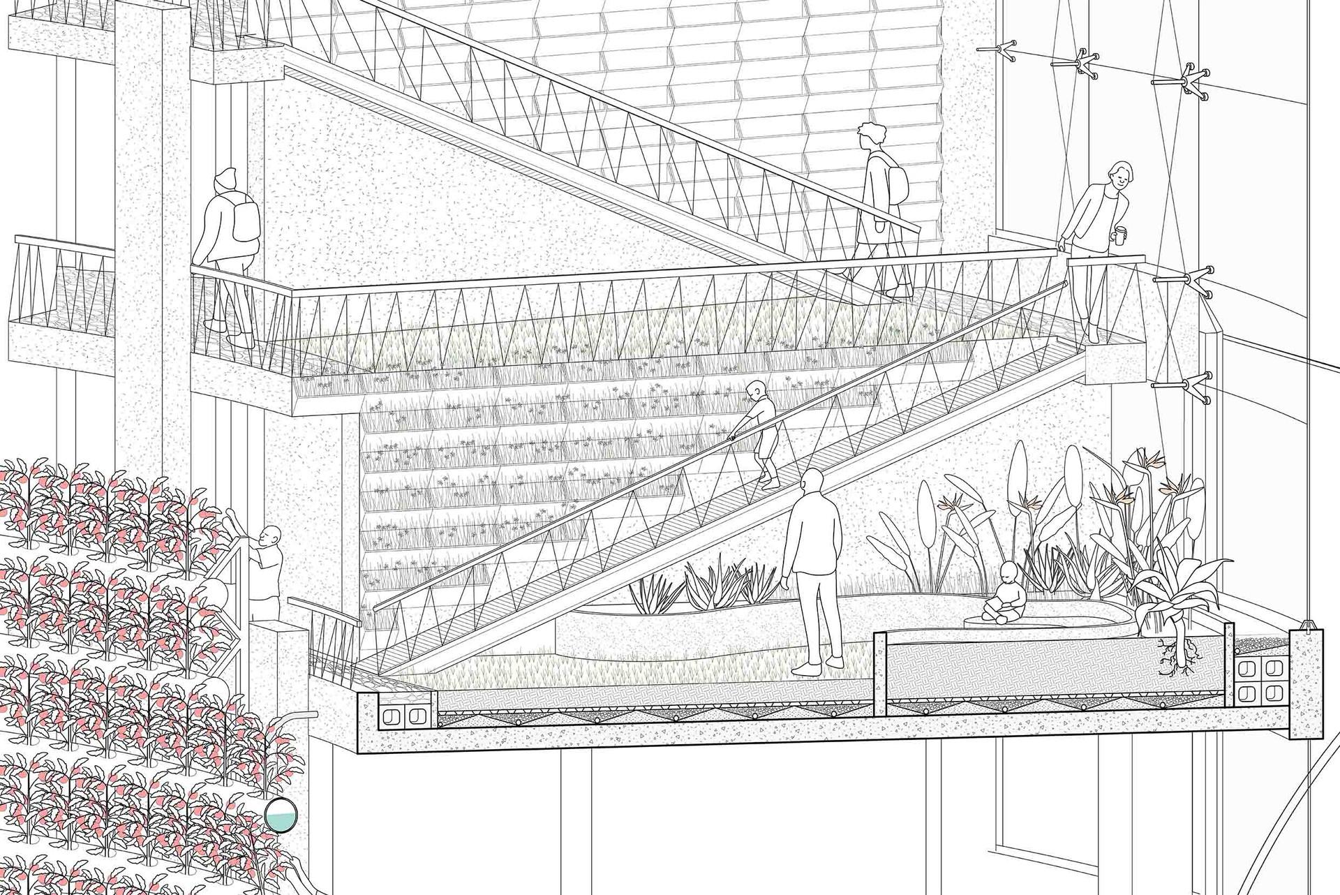 Roof garden 3D section. Pottie, A. Unit 13. 2020.. 2020.