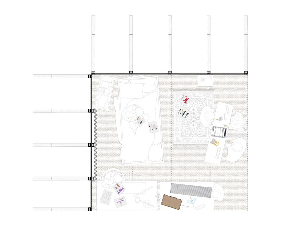 Floor plan of the Tales for the Nursery showroom. Ndziba, M. Unit 19. 2020.