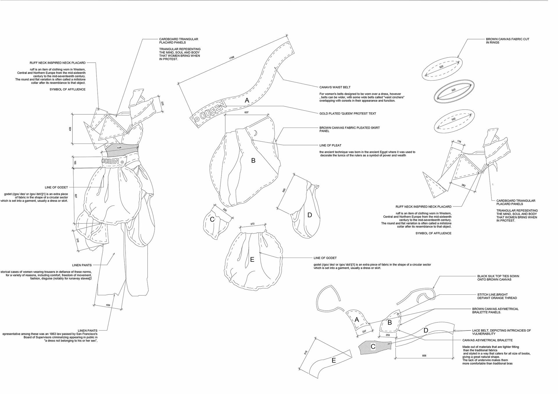 Tent Making on the Female Body assembly drawing. Mathenjwa, SS. Unit 18. 2020.
