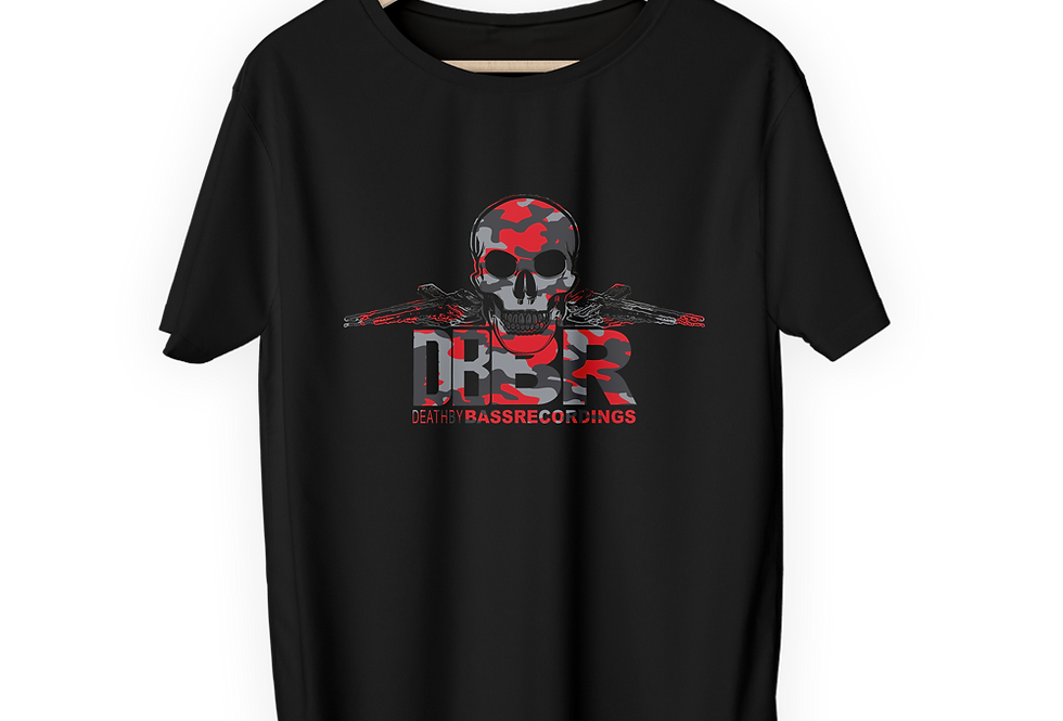 Black T-Shirt with Red Camo