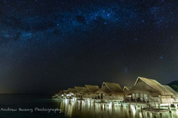 Milky Way Over the Water Bungalow