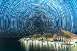 Star Trails Moorea Over Water Bungalow