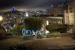 Lombard Street Love Light Painting