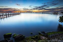 Melbourne Fl Blue Hour Mossy Rocks