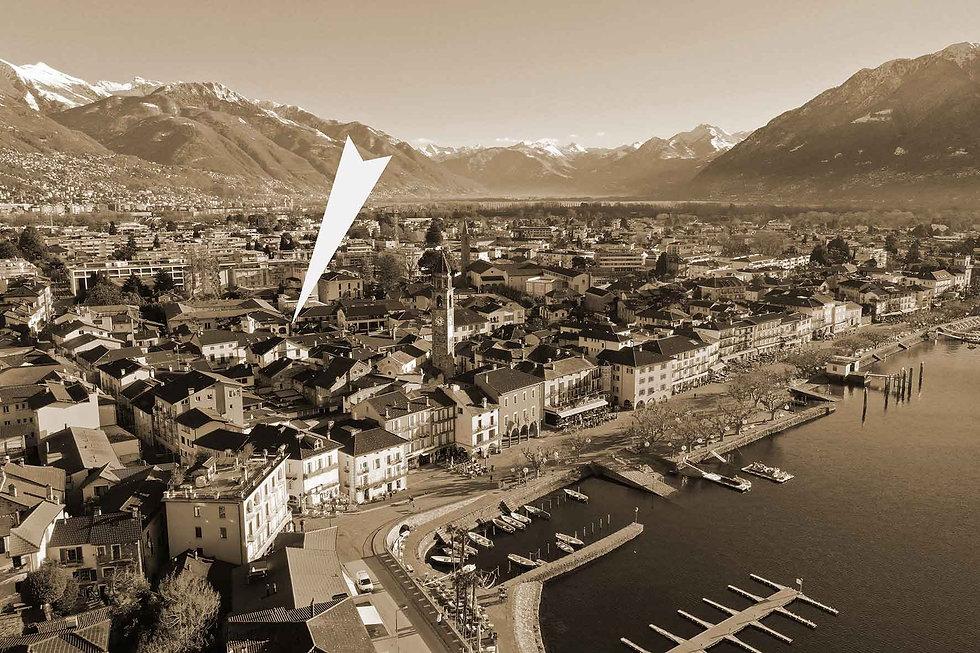 Drohnenansicht von Ascona genauer Standort der Pizzeria Cortile