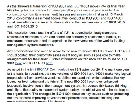 Is your ISO 9001 & 14001 still in 2008 version? You have time till March 2018!