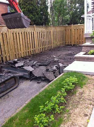 excavation pour entrée d'asphalte