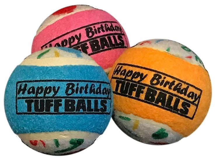 """Happy Birthday Tuff Ball 2.5"""" 3-Pack"""
