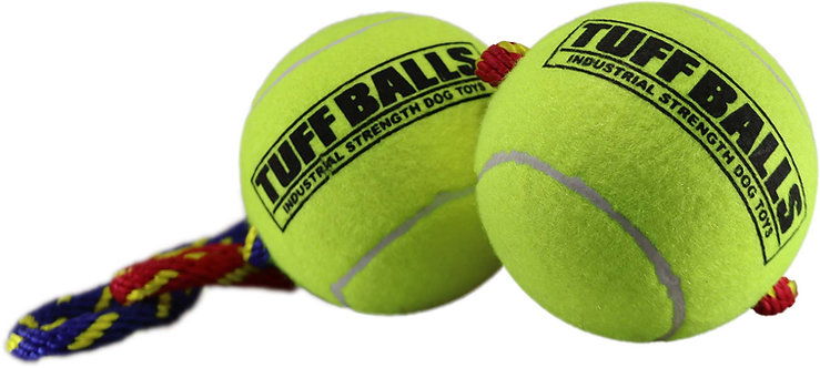 """Giant Fling Thing 14"""" Rope w Two 4"""" Tuff Balls Assorted"""