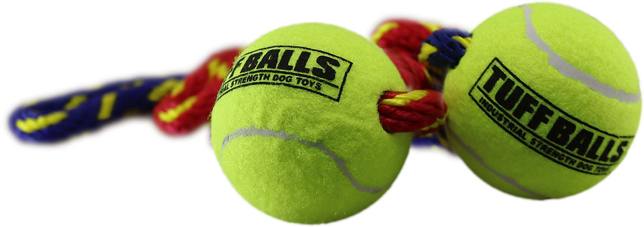 """Fling Thing 12"""" Rope w Two 2.5"""" Tuff Balls Assorted"""