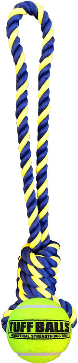 """Knotted 14"""" Rope Tug w/ 2.5"""" Tuff Ball"""