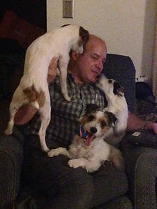 Dr Kurmes with three jack russells at home