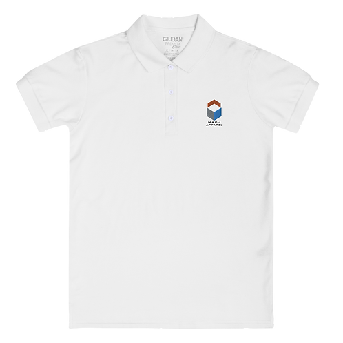M.A.C.J Apparel Embroidered Women's Polo Shirt (White)