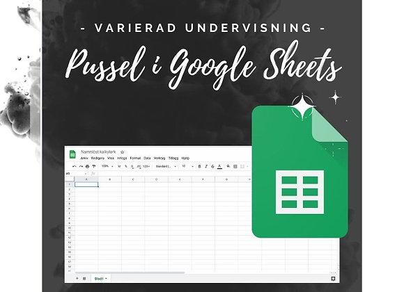 Google Sheet pussel - de fyra räknesätten