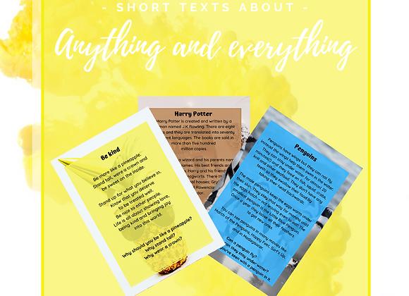 40 Läsförståelsekort engelska