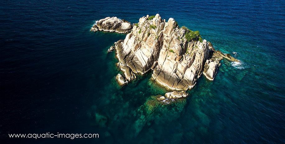 Shark Island, Koh Tao, Thailand, Drone, Aerial, Dive Site