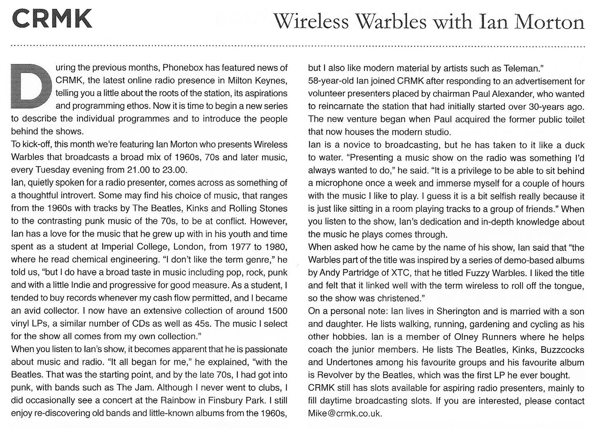 Wireless Warbles