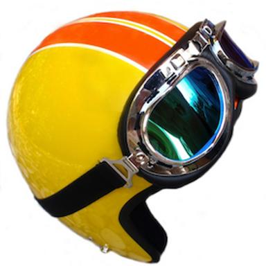 Retro helma, žlto-červená, replika 70-te roky
