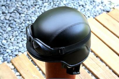Retro helma, US, čierna koža