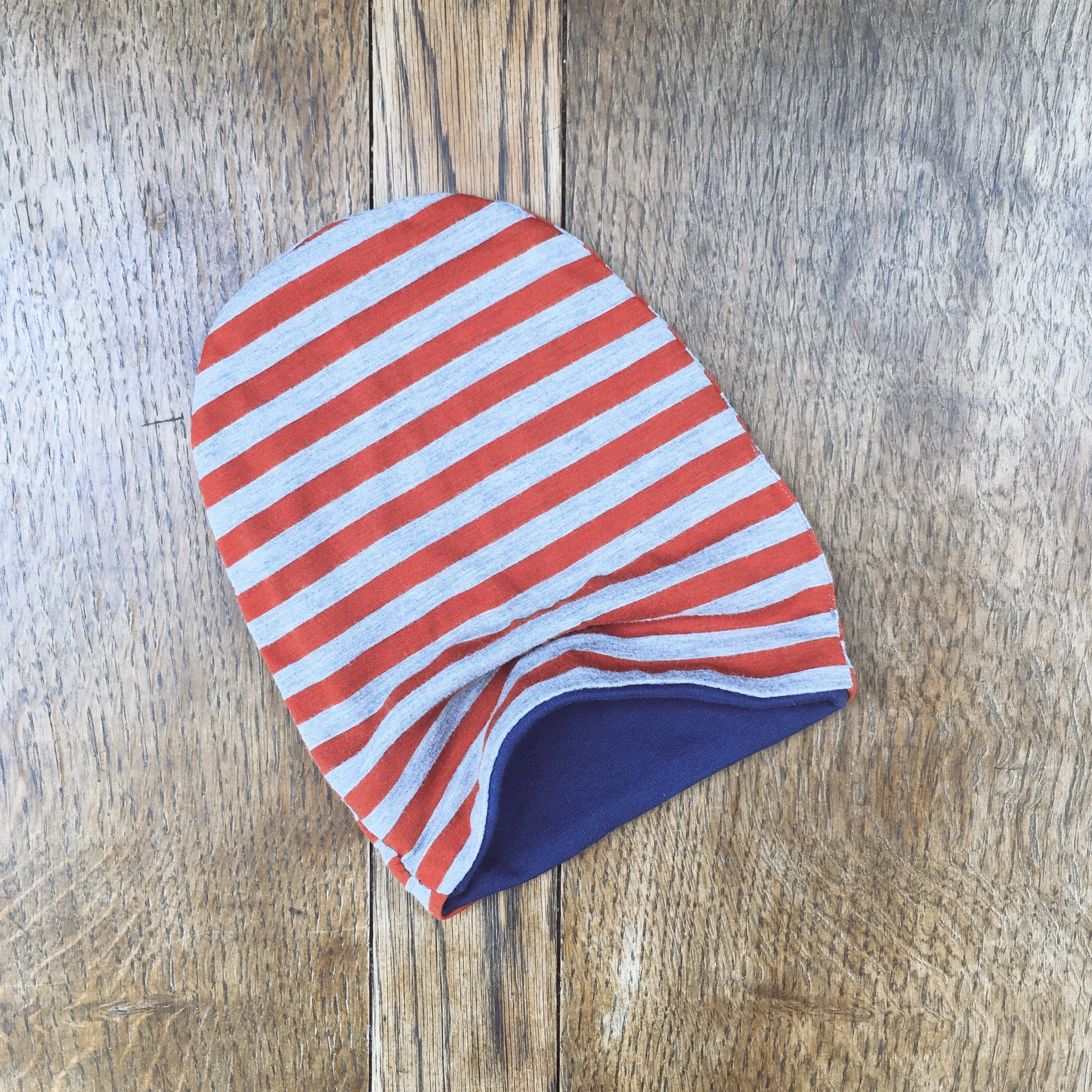 Red and grey striped beanie