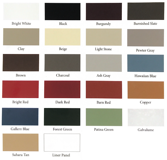 Stony Point Metals Roofing color options - image by Stony Point Metals