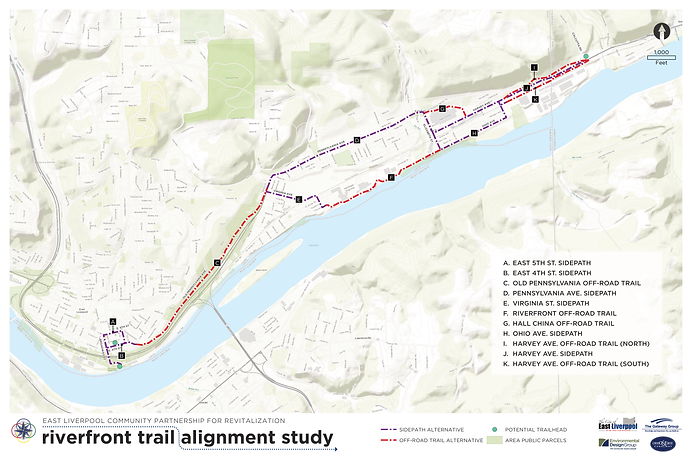 East Liverpool Riverfront Trail concept map following old Pennsylvannia Avenue
