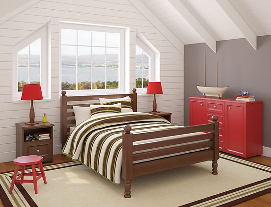 Vinylmax white windows over a red and brown accented room - image by Vinylmax