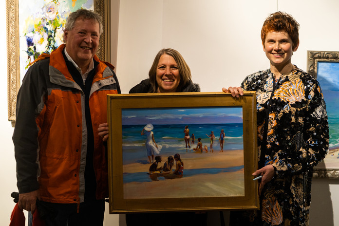 """""""God is Love"""" opening reception night. Original oil painting """"On the beach"""" - sold!"""