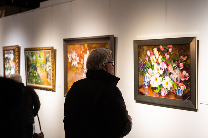 """""""God is Love"""" opening reception night visitors. Spring Flowers oil painting"""