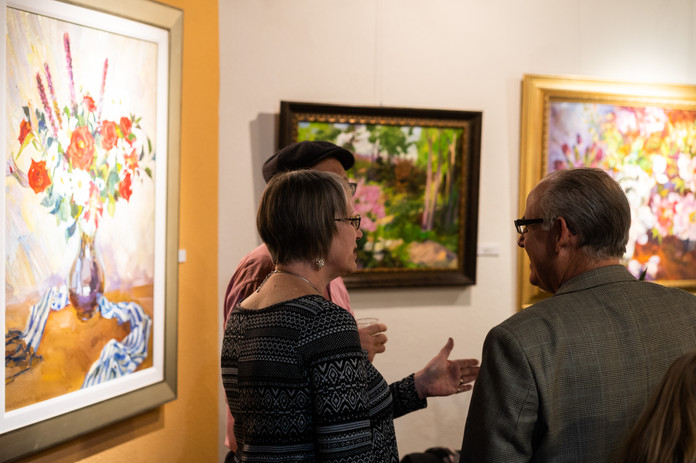 """""""God is Love"""" opening reception night visitors. St. Valentine painting"""