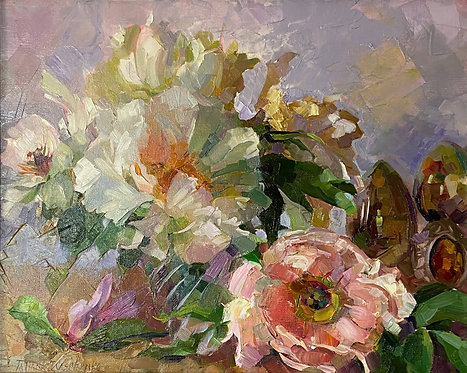 Still Life with Chinese Peonies and Russian Painted Eggs