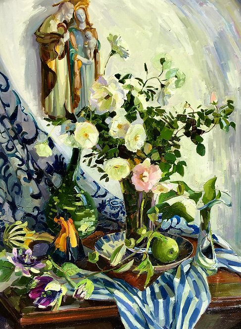 Still LIfe with Pattorino's Holy Family and Passion Flowers