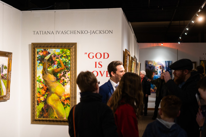 """""""God is Love"""" opening reception night. Fruitful Eve original oil painting"""
