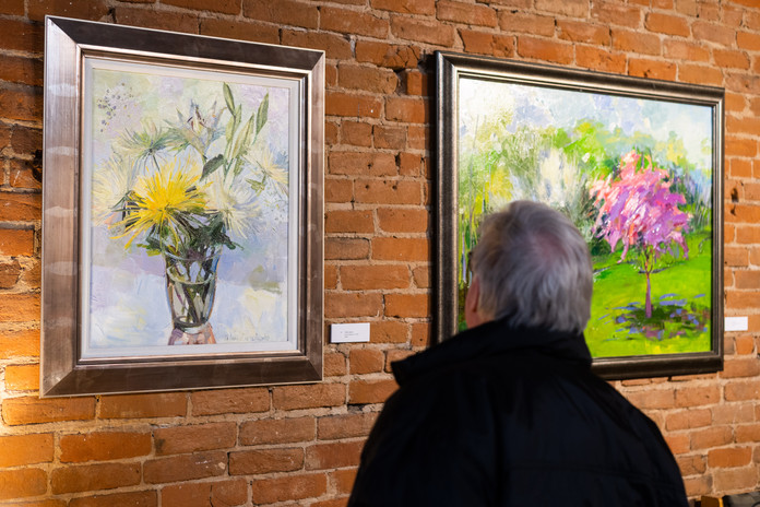 """""""God is Love"""" opening reception night. White Asters and Spring paintings"""