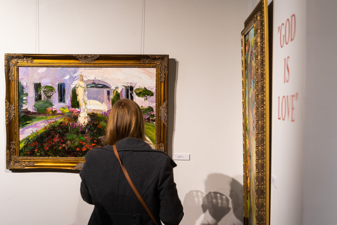 """""""God is Love"""" opening reception night visitors. Mary's Garden painting"""