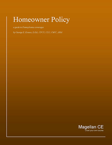 Homeowner Policy (14 credits) CE Course - Online Only